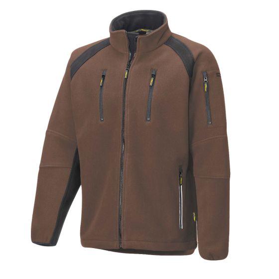 Fleece Jacke 8765 braun/schwarz